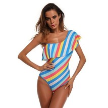 Women One Piece Bikini Colorful Striped Swimming Suits Breast Pad Nonsteel Tower - $26.82