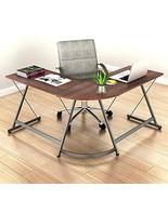 SHW L-Shaped Home Office Corner Desk Wood Top, Dark Walnut - $111.04