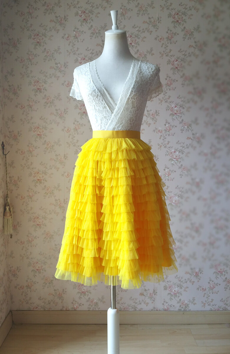 Tiered tulle skirt wedding party skirt yellow 2