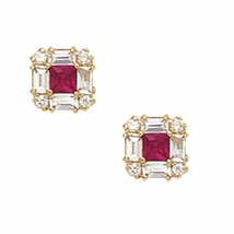 14K Solid Yellow Gold 7MM Square Cut Prong Ruby July Birthstone Studs ER-PE1-7 - $93.05