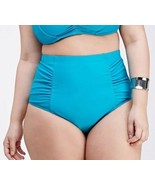 Forever 21+ Neon Turquoise Blue Ruched Side High Waist Swim Bottom Plus ... - $13.27