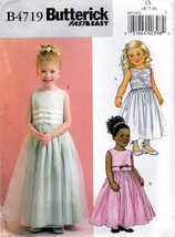 Butterick B4719 Girls Formal Dresses Childrens Sewing Pattern Sizes 6-7-... - $7.95