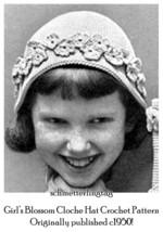 1950s 50s Blossom Cloche Hat Crochet Pattern DIY Girls 1950s Swing Retro... - $5.99