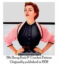 1951 50s Shrug Pattern Knit w Crochet DIY Glam WWII Flirty 1950s Swing Retro - $5.99
