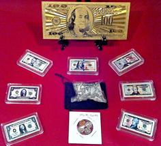 """Gold BILL""$100 Rep*+Full SET$1-$100 Banknote Bars+Mini Coins & - $43.99"