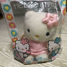 Vintage Hello Kitty Angel Plush Pink Pretty Dress Rare In Bag Flower Ribbon - $42.72