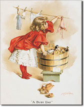 """Ivory Soap Little Girl Washing Doll Clothes """"A Busy Day"""" Metal Sign - $19.95"""