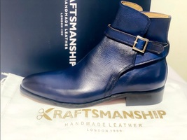 Handmade Men's Blue High Ankle Monk Strap Leather Boot image 8