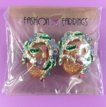 Oval Orange & Turquoise with Flowers Clip-On Earrings - Fashion Jewelry NEW - $2.50
