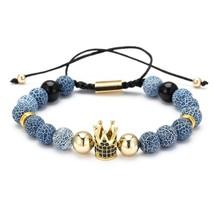 Fashion CZ Crown Charm Bracelet Men Women 2019 Trendy Natural Stone Bead... - $11.78