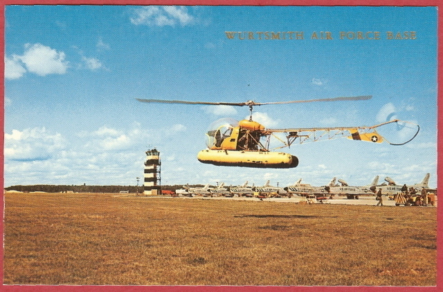 Primary image for Oscoda Mi Postcard US H13 Helicopter Jets Wurtsmith AFB