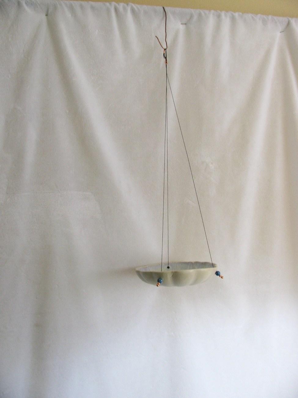 Tan Crystalline Porcelain Hanging Bird Feeder RKC126