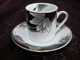 Fine Porcelain Cup & Saucer Demitasse Gold Trim Marked Chekoslovakian - $17.81