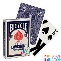 BICYCLE E-Z-SEE LOVISION PLAYING CARDS DECK COLOR CODE MADE IN USA BLUE NEW - $6.03