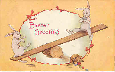 Teeter Tottering Bunnies Vintage Post Card