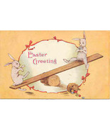 Teeter Tottering Bunnies Vintage Post Card - $6.00