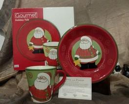 Fitz and Floyd Merry Christmas 2008 Santa Plate and Mug Holiday Folk Coo... - £15.95 GBP