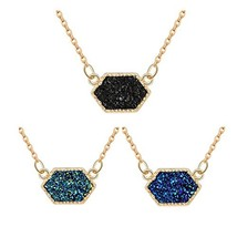 MissNity Fashion Simulated Druzy Necklace for Women Gold Plated Bohemian... - $16.75