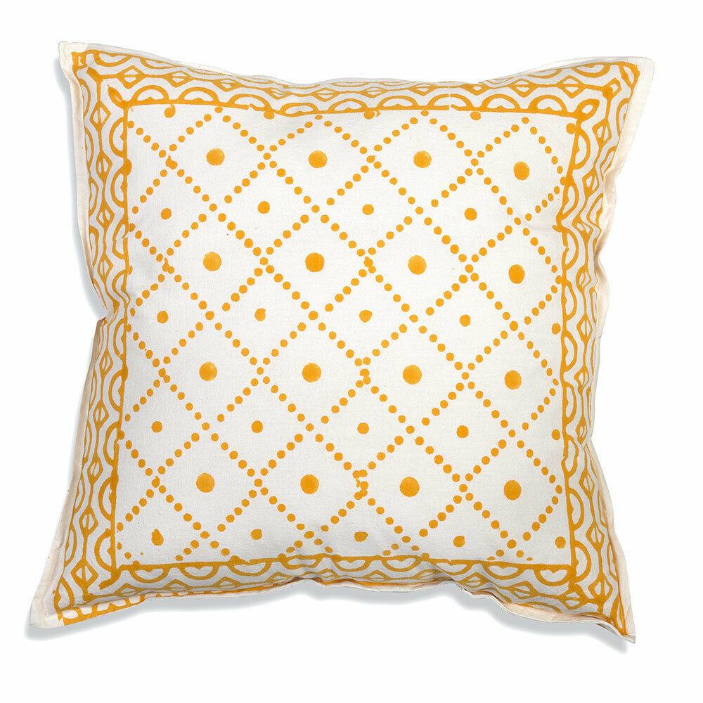 Farmhouse TESS COTTON THROW PILLOW Country White Orange Abstract Cushion Bed image 2