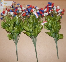 "Flowers 4th Of July Red White & Blue Decor Stems Picks Bushes 3ea 13""x 6... - $9.49"
