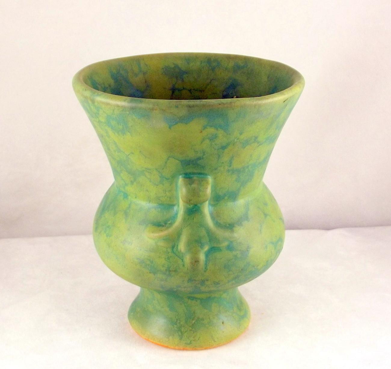 Vintage arts and crafts era matte green mottled glaze art for Arts and crafts vases pottery