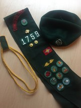 Vintage 60s Girl Scout Uniform sash, patches, pins, beret and arm ropes