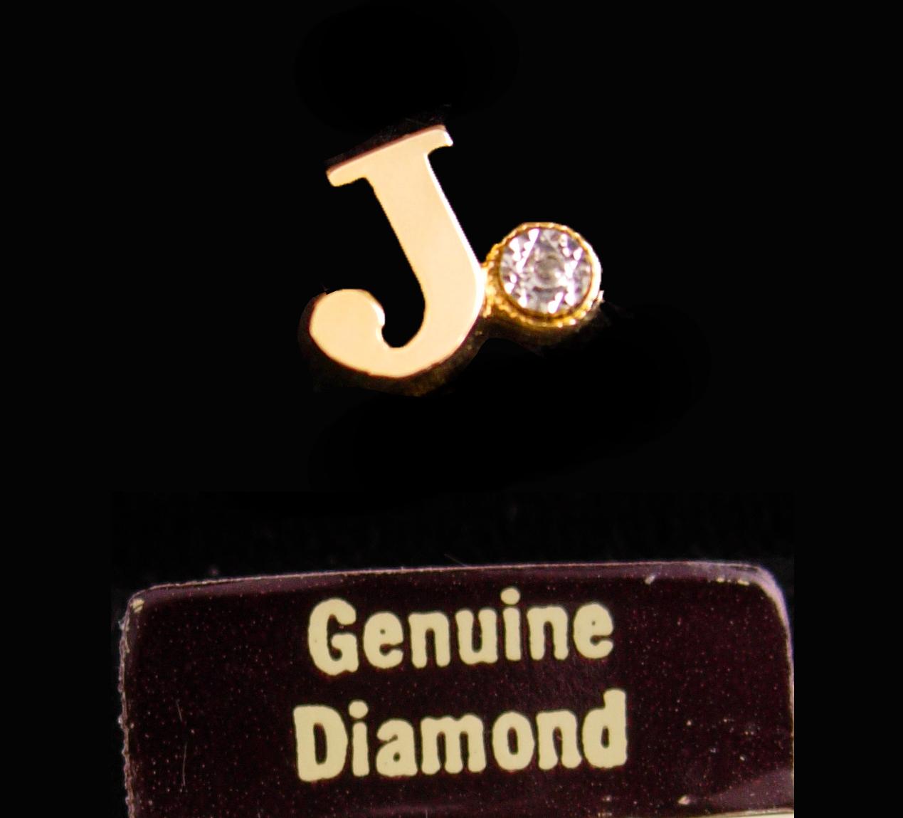 Genuine diamond tie tack - Pierre Cardin - Initial J - personalized letter J - v - $125.00