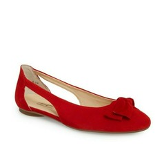 PAUL GREEN Pacific Red Suede Bow Cut-out Flats 7 US women - $57.86