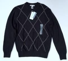 NWT Geoffrey Beene Size Small Black Mens Sweater White Argyle Pattern Ac... - $29.69