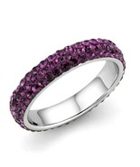 Women's Stainless Steel High polished Crystal Amethyst 1.51(g) Engagemen... - $14.70