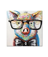 V-inspire Art,24x24 Inch Colorful Animal Painting Cute Pig with Glasses ... - $42.55