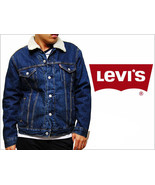 NEW LEVI'S MEN'S SHERPA TRUCKER JACKET DENIM BLUE #0001 SIZE LARGE  - $66.15