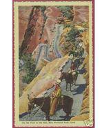 Zion Nat'l Park Horses Riders Linen Postcard BJs - $6.00