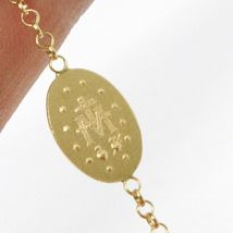 18K YELLOW GOLD  ROSARY BRACELET, 5 MM SPHERES, CROSS & MIRACULOUS MEDAL image 5