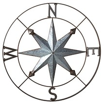Galvanized Metal Wall Art Rose Compass - 30-in - $128.32