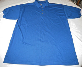 Gildan Activewear Ultrablend Heavyweight adult L large mens Blue polo shirt NOS - $13.36