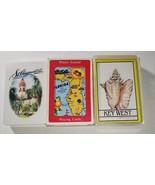 3 Decks Florida Souvenir Playing Cards Map St Augustine Key West 1980s - $14.84