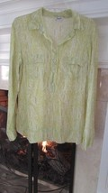 Splendid Lime Green and White Long Sleeve Blouse Sz Small - $34.65