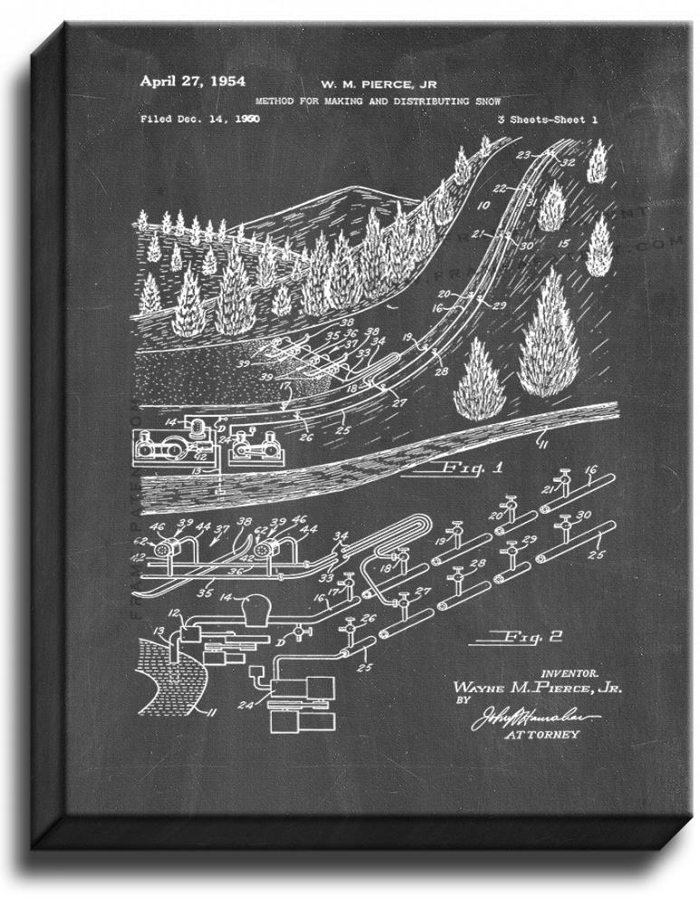 Primary image for Artificial Snow Maker Patent Print Chalkboard on Canvas