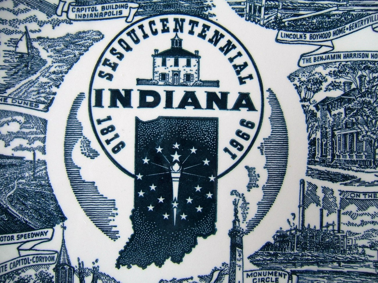 Vintage Indiana Sesquicentennial State Plate 1818 1966 Kettlesprings Kilns