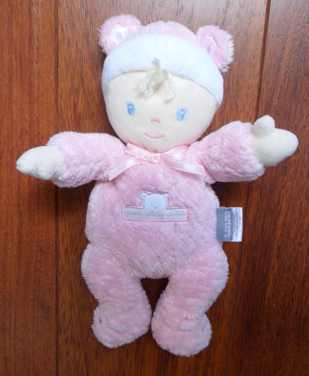 Carter's Just Stay Little Pink Baby Doll Plush Lovey Rattle Bear Toy Girl Dolly
