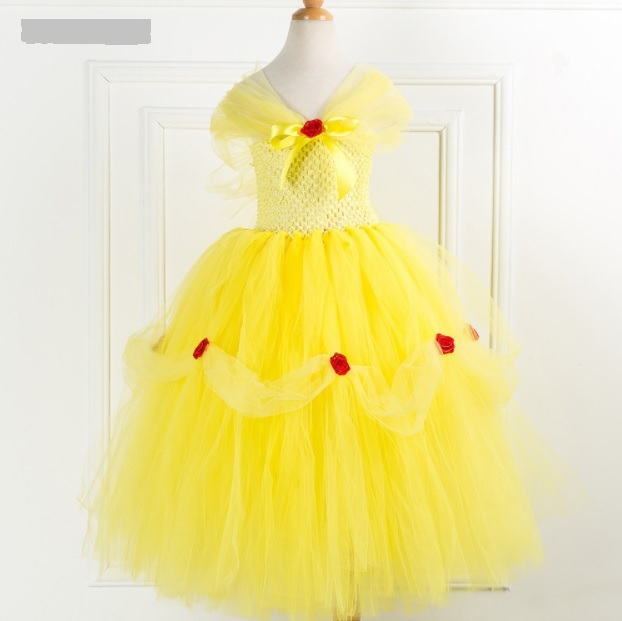 e24d4f360744b Tutu. Tutu. Previous. New Beauty Belle Princess Dress Kid Fancy Girl Party  Yellow Cosplay Costume cute