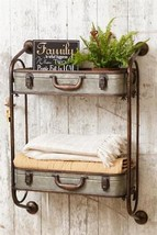 2 Tiered Rustic Metal Container Shelf Galvanized Metal Suitcase Style Wa... - $124.95