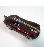 Vintage 1999 Mattel Jaguar D-Type Huffman Hawks Metallic Burgandy Hot Wh... - $6.99