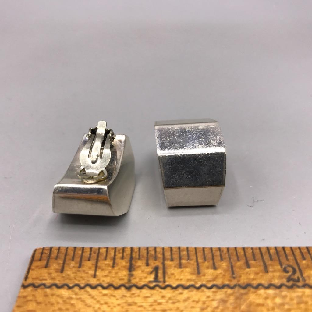 Sterling Silver Mexico TB Clip On Earrings Vtg
