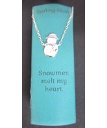 "Kohl's 16-18"" Sterling Silver SNOWMEN MELT MY HEART Snowman Winter Neckl... - $6.91"