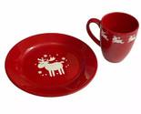 Waechtersbach Emma Red Moose Reindeer Christmas Plate Coffee Cup Mug Set Willie