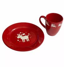 Waechtersbach Emma Red Moose Reindeer Christmas Plate Coffee Cup Mug Set... - $39.59