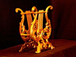 Musical Harp Magazine Holder or for Music AA19-1590 Vintage Metal image 8