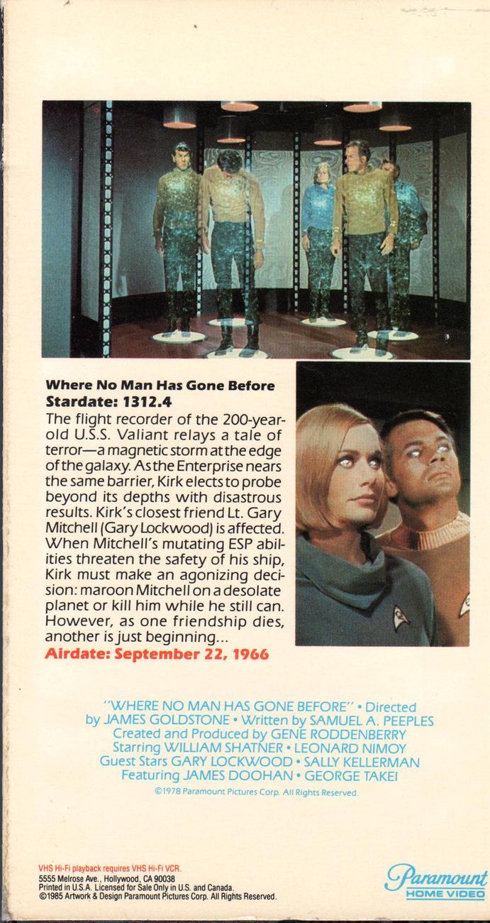 "Star Trek-The Original Series [VHS] (1985) ""Where No Man Has Gone Before"""